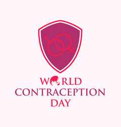 world contraception day with shield in flat style vector image