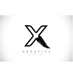 X feather letter logo icon design with feather vector