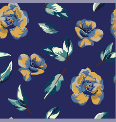 yellow blue roses seamless blue background vector image