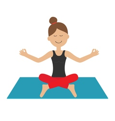 Young girl do yoga Cute cartoon woman character vector