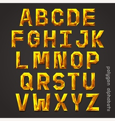 Alphabet gold color polygon style vector image