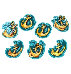 Anchor on blue wave design elements vector image vector image