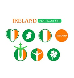 Flat Icon Set with Ireland Flag vector image vector image