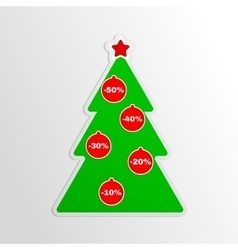 Green tree with a coupon stickers vector image