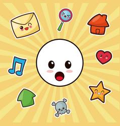 kawaii character emoticon social media vector image