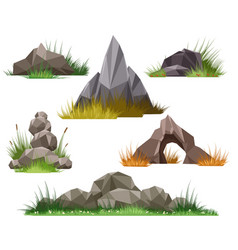 Rock and stone set vector