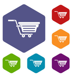 Shopping basket on wheels icons set hexagon vector