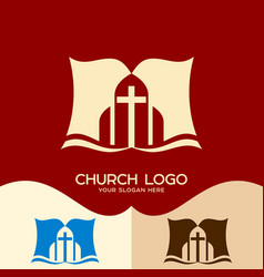 the bible and the cross of jesus christ vector image