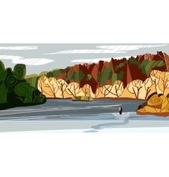 Autumn nature landscape with vector image