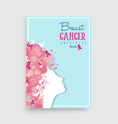 breast cancer awareness pink girl poster design vector image vector image