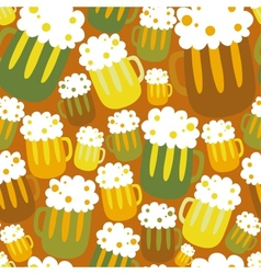 Cartoon seamless pattern with beer vector image
