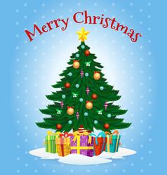 greeting card with cartoon christmas tree vector image