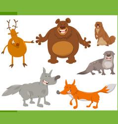 happy wild animal characters set vector image vector image