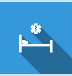 hospital bed with star of life icon vector image vector image
