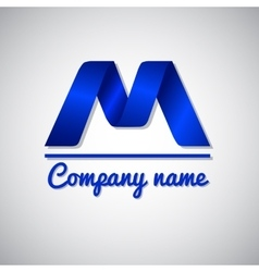 Icon of blue paper business logo icon letter m vector image