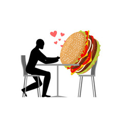 lover fast food man and hamburger in cafe guy and vector image vector image