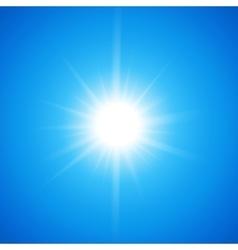White glowing light burst sun on blue sky vector image