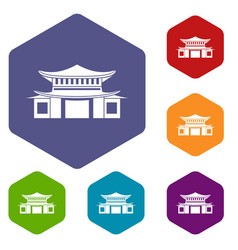 chinese icons set hexagon vector image