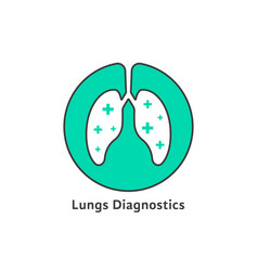 green outline lungs diagnostics with cross vector image