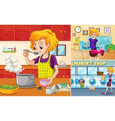 Housewife doing different chores in the house vector image vector image