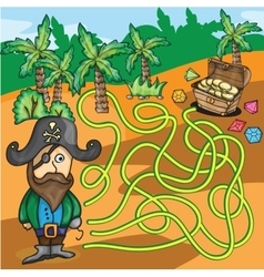 Maze Game - Pirate Try to Find Treasure Box vector image vector image