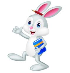Rabbit cartoon holding book vector image vector image