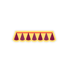 Stylish paper sticker on white background festive vector