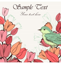 Vintage background with birds and tulip flowers vector image vector image