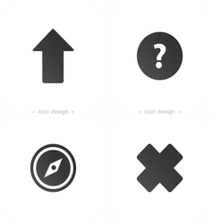 Arrow compass cross question symbol and icons vector
