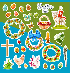 easter sticker set with spring holiday symbols vector image vector image