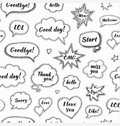 hand drawn set of speech bubbles with dialog vector image