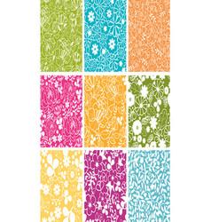 Set Of Nine Spring Flowers Seamless Patterns vector image