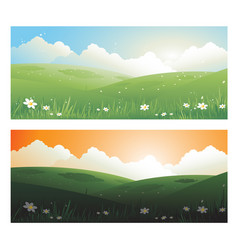 2 springs banners landscape day and sunscape vector image