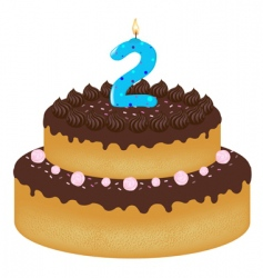 2 years old birthday cake vector