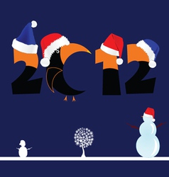 2012 with tree and snowman vector