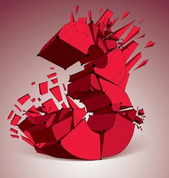 3d digital wireframe red number 3 broken into vector image