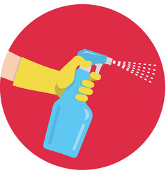 A gloved hand holds bottle detergent vector