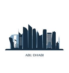 abu dhabi skyline monochrome silhouette vector image