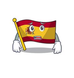 Afraid flag spain isolated in cartoon vector