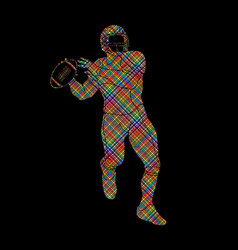 American football player action sportsman player vector