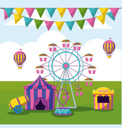 Amusement park with tents circus vector