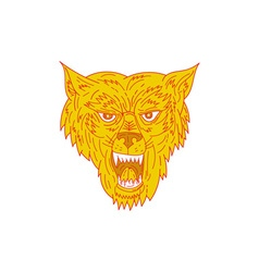 Angry Wolf Head Mono Line vector image