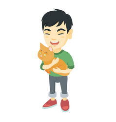 asian happy boy holding a ca vector image