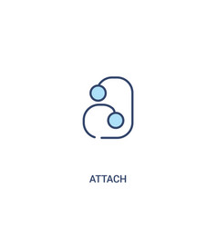 Attach concept 2 colored icon simple line element vector