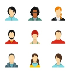 Avatar of different people icons set flat style vector