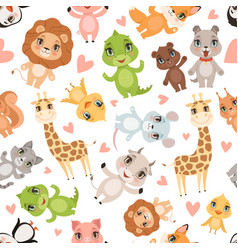 Baby animals pattern fabric printed seamless vector
