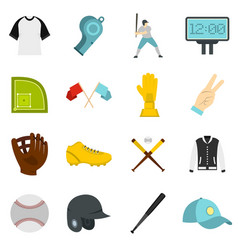 baseball icons set in flat style vector image vector image