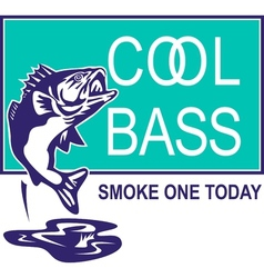 Bass largemouth jumping cool vector