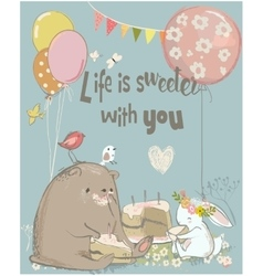 birthday card with cute bear and hare vector image
