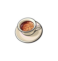 Black americano espresso turkish coffee drink vector